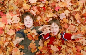 Two brothers play in a pile of leaves near Spanish Springs after their appointment with a family dentist in Reno.